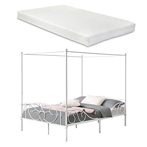 [en.casa] Himmelbett Finström mit Kaltschaummatratze 140x200cm Metallbett mit Matratze ÖKO-Tex Standard 100 Jugendbett Bett Weiß
