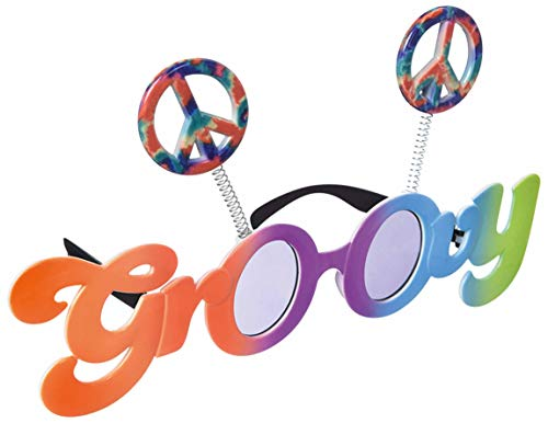 amscan 250476-55 Spaß-Brille Groovy 60´s, Mehrfarbig, 9 1/2in Wide x 2in Tall