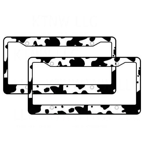 AJ WORLDWIDE A Set of 2 Made in USA Plastic License Plate Frame Safari Animal Series- Cow