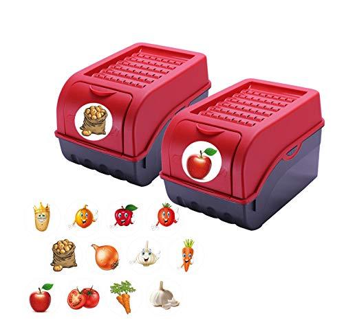 Rival 2 StückVorratsdose für Kartoffeln, Gemüse, Obst, Zwiebeln, Aufbewahrungsbox, Kunststoff, Volumen ca 7,7 Liter, inkl 24 Sticker