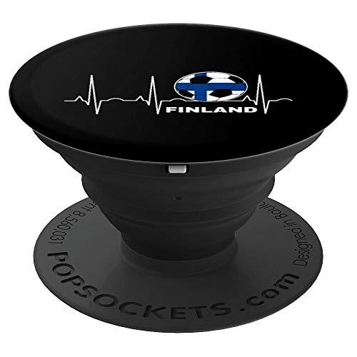 Finnland-Fußball-Herzschlag - Flaggenfinnischer Fußball - PopSockets Ausziehbarer Sockel und Griff für Smartphones und Tablets