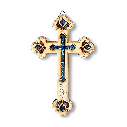 My Daily Styles Christian Croce in Legno con finte Pietre preziose Wall Plaque Decor Made in Israele