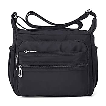 NOTAG Crossbody Bag for Women Waterproof Shoulder Bag with Adjustable Strap Lightweight Messenger Bag Casual Canvas Purse Handbag with Multi-Pocket for All-Purpose Use,2 Size  Large Black