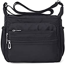 NOTAG Crossbody Bag for Women Waterproof Shoulder Bag with Adjustable Strap Lightweight Messenger Bag Casual Canvas Purse Handbag with Multi-Pocket for All-Purpose Use,2 Size (Large, Black)