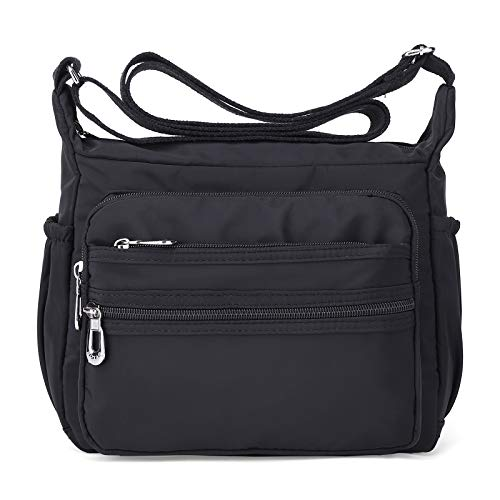 Crossbody Bag for Women Waterproof Shoulder Bag Messenger Bag Casual Canvas Purse Handbag (Small, Black)