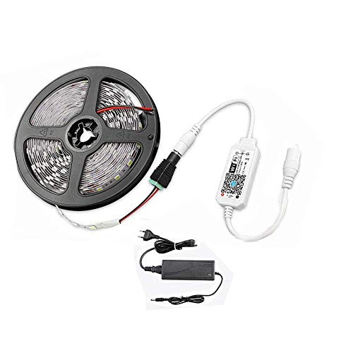 W-LAN - Tira de luces LED (5 m, 300 ledes, con fuente de alimentación 3A, 2835SMD, 6000 K, luz blanca fría, 12 V, iluminación interior controlada por wifi/aplicación, funciona con Alexa