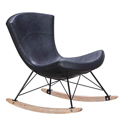 YINGGEXU Silla mecedora mecedora de diseño retro, para el hogar o la oficina (color: negro, tamaño: 79 x 79 x 57 cm)
