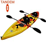 BKC TK181 12' 8' Tandem 2 or 3 Person SIt On Top Kayak w/Soft Padded Seats, 2 Paddles and 7 Fishing Rod Holders Included - 2-3 Person Fishing Kayak
