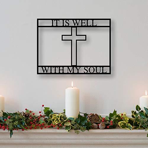 Signo de metal con temática cristiana, signo de cruz de metal, signo de Jesús, signo de cruz, signo de metal cristiano, es bien con mi alma, negro 14 pulgadas