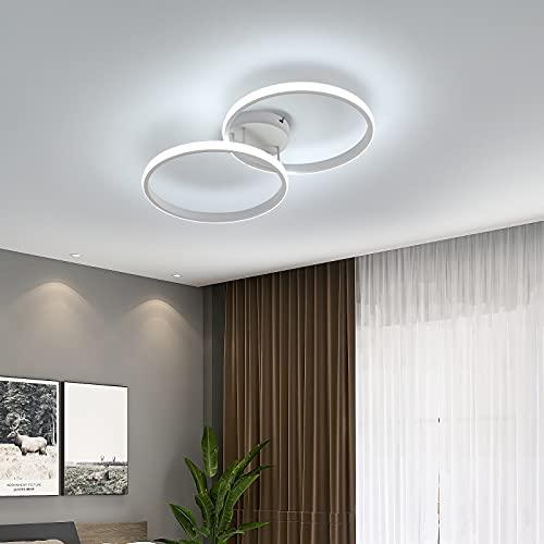AUA Lámpara de techo moderna, Plafón LED Techo doble anillo 42 W, Luz de Techo de acrílico blanco para dormitorio, salón, estudio, oficina