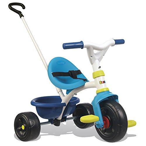 Smoby Be Fun Dreirad blau Kinderdreirad mit Schubstange, Sitz mit Sicherheitsgurt, Metallrahmen, Pedal-Freilauf, für Kinder ab 15 Monaten