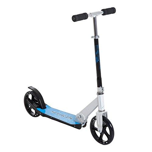 HOMCOM Patinete para Niños y Adultos Scooter Plegable Plegable Manillar Ajustable Marco Aluminio Ligero y Estable Carga 100kg Aluminio 68x34x60-73.5cm Blanco