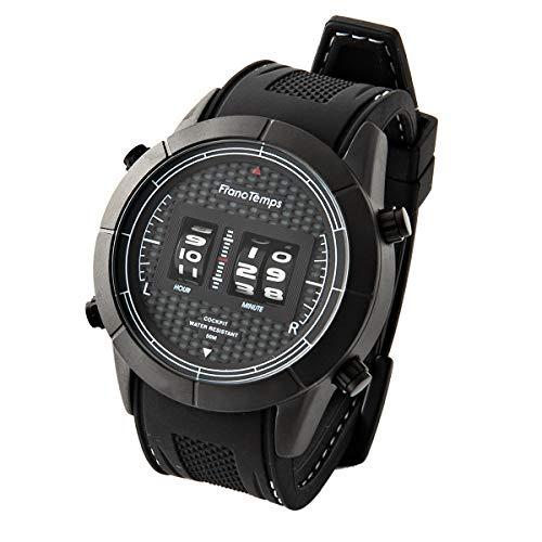 [フランテンプス] FrancTemps COCKPIT 腕時計 コクピット ウォッチ メンズ ローラー式 回転式 メンズウォッチ (ブラック/ラバーベルト)