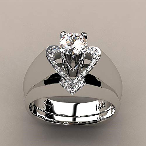 Janly Clearance Sale Womens Rings, Delicate Women Fashion 925 Sterling Silver White Sapphire Diamond Ring Engagemen, Jewelry & Watches for Christmas Valentine's Day (B)