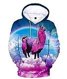 Felpe con Cappuccio Maglione con Cappuccio 3D Sky Arcobaleno Animale Stampa Alpaca con Animali Tasca per Bambini Sport Traspirante Pullover con Cerniera Intera Selvaggio Rosa M