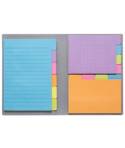 Sticky Notes by Panda Planner - Bookmark, Prioritize and Set Goals with Color Coding - 60 Ruled Lined Notes (4x6'), 40 Dotted Notes (3x4'), 40 Blank Notes (2.7x4.2') - 140 Total Tab Divider Notes