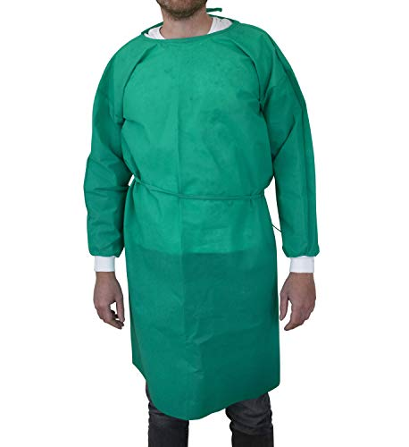 Fitters Footwear That Fits Schutzkittel 10er Pack Mehrweg Vlies Waschbar mit Bändern in dunkelgrün (universal EU, dunkelgrün)