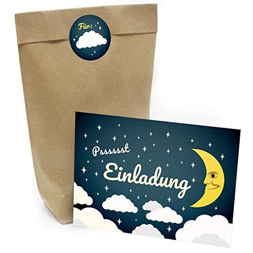 Praktisches Kindergeburtstag Set mit 16 Geschenktüten (Party-Tüten), Einladungskarten und Aufklebern Motiv: Wolken für Übernachtung
