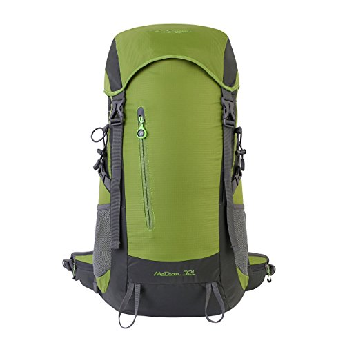 Summit Glory External Frame Hiking Backpacking Camping Travel Climbing Backpack, Rain Cover Included Lt.Green