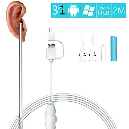 ADLOASHLOU USB del Endoscopio de 3 en 1 Boroscopio HD Inspección Limpieza del oído del Alta definición Visual Cuchara Multifuncional Earpick Salud de Limpieza de Herramientas 6.5 pies
