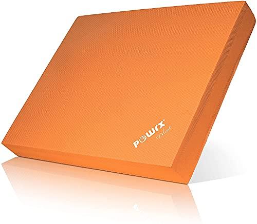 POWRX Balance Pad in Gomma Piuma (40x34x5 cm) - Pedana Equilibrio per Esercizi di Ginnastica, Pilates e Yoga - Cuscino propriocettivo in Morbido TPE - Superficie Antiscivolo + PDF Workout (Orange)