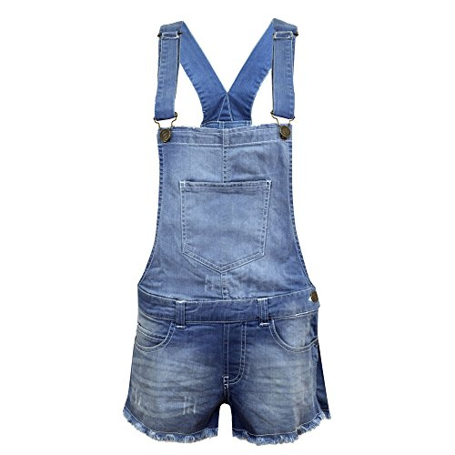 Salopette corta da donna, in jeans elasticizzato, per l'estate Light Denim 1 Taglia 40/S