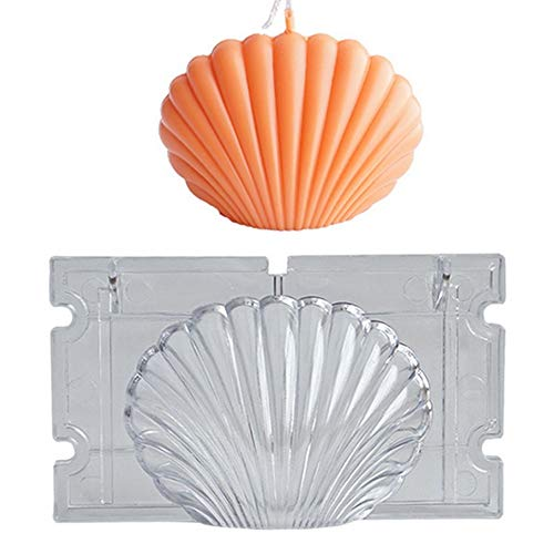 BYBYCD 3D Seashell Candle Mold Scented Candle Mold Handmade Candle Making Aromatherapy Plaster Molds Plastic Scallop Soap Mold(L)