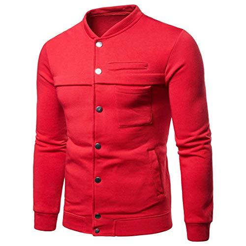 Veste Homme col Rond Bouton vêtements De Sport vêtements De Poche Couleur Unie Vestes Légères Décontractées all-Match Printemps Et Automne Boutique Veste De Transition E-Red L