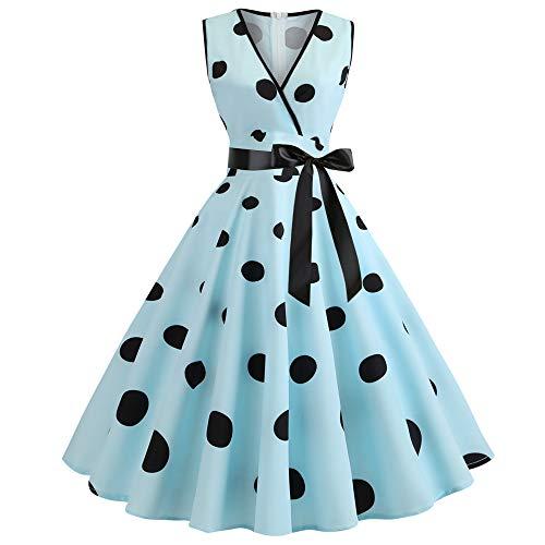 U/A Sweet Summer Sexy Fashion V-Neck Print Swing Dress Blue