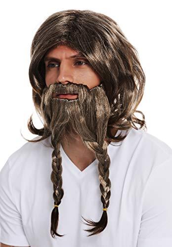 WIG ME UP ® - 70774-FR612-6 Peluca Barba Bigote Carnaval Halloween Hombres Vikingo Germano Galo bárbaro castaño Trenza