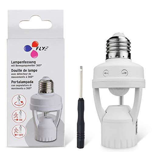 8T8 Motion Sensor Light Socket, PIR Motion E26 Screw Bulb Adapter, Adjustable Auto On/Off Night Light Control Smart Sensor Bulb Adapter for Storage Room, Garage Light (Sensor Adapter_E26)