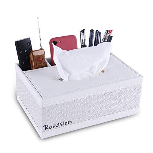 Robasiom Recipiente multifunción de piel sintética para bolígrafo, lápiz, mando a distancia, caja de pañuelos …