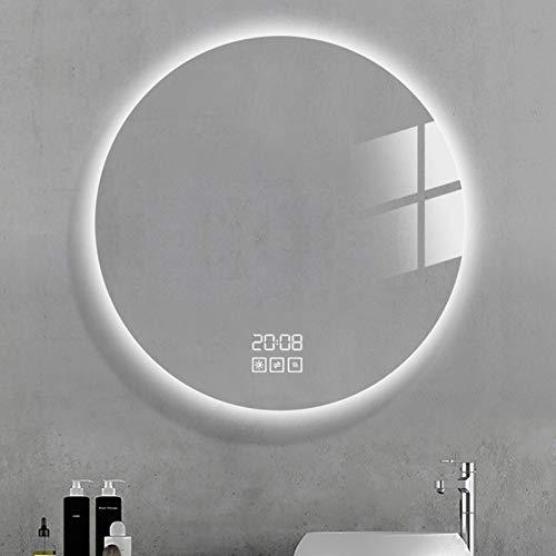JHNEA Espejo Baño Espejo de Pared, Espejo Colgante Dormitorio Función Antivaho con Luz LED Interruptor Táctil 3 Temperatura de Color Ajustable para Baño Dormitorio Salón,Three Touch_36x36inch