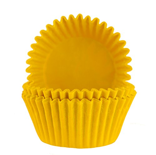 Glassine Baking Cups. Cupcake Liners, Standard Size, Pack of 50 (Yellow)