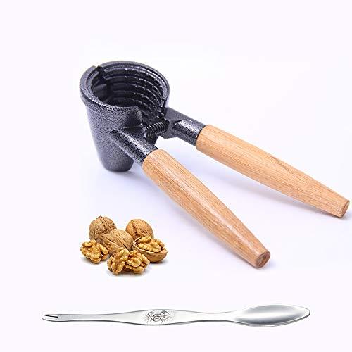 Aluminio-Madera Abrebotellas Negro 6 x 18,5 x 8,5 cm Relaxdays Cascanueces Nueces Almendras Cascador Frutos Secos