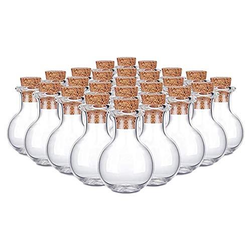 Convincied - 10 botellas de cristal con tapón de corcho, tarros pequeños, botellas de deseos, botellas de mensajería para bodas, fiestas de boda