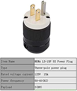 2Pcs NEMA L5-15P US Male Electric Plug,15A 125V Industrial Grade Waterproof Electric Plug,3 Poles Straight Blade Plug Adapter,UL Certification Grounding Connector Cord Outlet Replacement