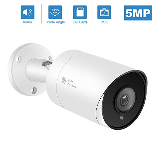 (Hikvision Compatible) Anpviz 5MP Outdoor Bullet POE IP Camera with Microphone Audio Wide Angle Security Camera Outdoor Indoor, 2.8mm LensMotion Detection,98ft, SD Card Slot