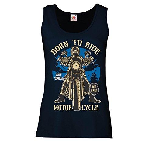 Camisetas sin Mangas para Mujer Live Young - Die Free - Nacido para Montar en Moto, Ideas de Regalos para Ciclistas, Lemas inspiradores