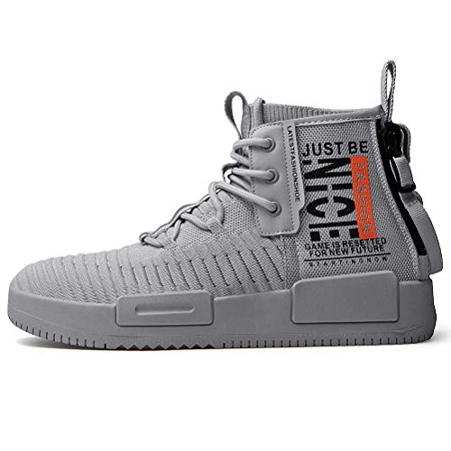 RUNMAXX Mens Fashion Walking Lace Up High Top Shoes Stylish Running Athletic Casual Sneaker Grey