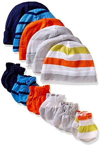 Onesies Brand Baby Boys' 12-Piece Cap and Mitten Set, stripe, 0-6 Months