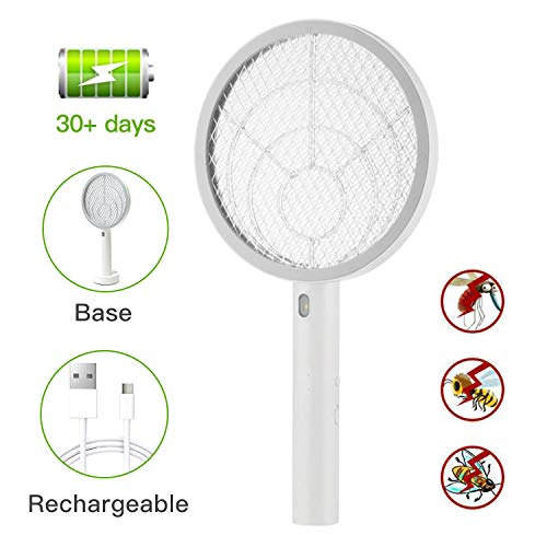 Teniswatter Electric Bug Zapper Fly Swatter Zap Mosquito Indoor Outdoor Pest Control, 4000V Grid, USB Rechargeable, LED Lighting w/Base, 3 Layers Mesh, White