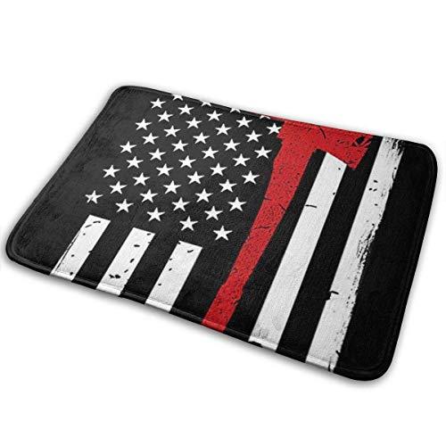 NA Red Line Firefighter USA Flagge gedruckt Willkommen Türmatte Indoor Outdoor Eingang Teppich Fußmatten Schuhschaber Matte für Küche Badezimmerböden
