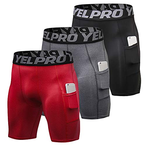 Loijon 3 Pack Men Compression Shorts Underwear de treino ativo com bolso