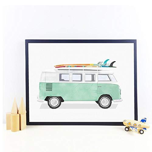 Ywsen Retro autodruk kinderkamer wanddecoratie mintgroen transport auto kunst linnen schilderij surfplank muurschildering zonder lijst 60x80 cm