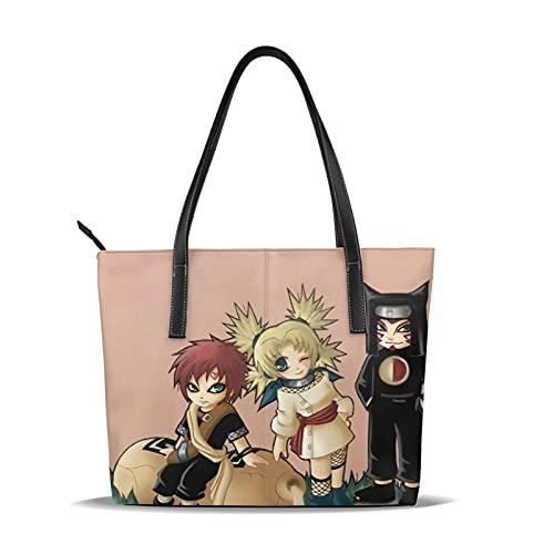 Anime Naruto Gaara Bolso de cuero fino impermeable de gran capacidad adecuado para el trabajo, viajes de negocios