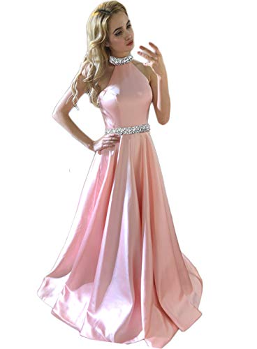 2020 Halter Prom Dresses Backless Neckline Rhinestone Beaded Formal Satin Evening Ball Gowns HFY202-Pink-US14 (Apparel)