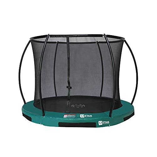 Etan Hi-Flyer Trampolino Elastico Bambini Interrato - a Terra con rete - Ø 244 cm / 08 ft - incl. Rete di sicurezza - Tappeto Elastico da Giardino - Verde - rotondo