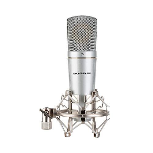AUNA MIC-920B V3 - Set Microfono USB Color Nero, A Condensatore, Braccio Microfono Orientabile, Staffa Ragno, Custodia, Plug & Play, Registrazione podcast audio, Per youtuber (MIC-920 USB - Argento)