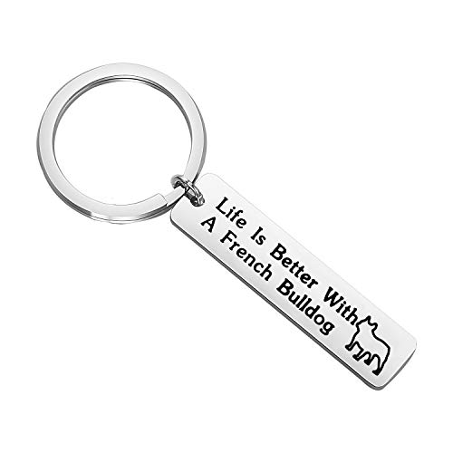 FEELMEM Dog Lover Gifts Life Is Better with A French Bulldog/German Shepherd/Pitbull/Dachshund/Beagle Keychain Gift for Dog Mom Dog Dad Dog Owner Gifts (bulldog)